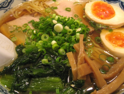 Shoyu ramen with spinach and egg from Fujio.